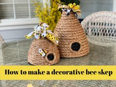 How to Make a Bee Skep Decoration - Celebrate Decorate Bee Skep, Bee Hives, Tree Bees, Dollar Tree Crafts, Dollar Tree Finds, Bee Party, Rope Crafts, Bee Theme, Bees Knees