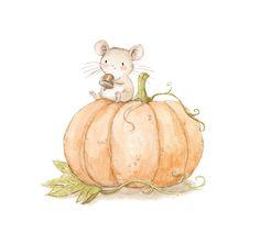 Ilustracion infantil raton y calabaza