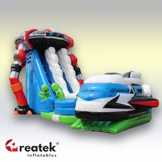 Maxi inflatable slide with original design, REATEK Europe leading producer of inflatable slides. Inflatable Slide, Logo Shapes, Bouncy Castle, Indoor Playground, 3d Design, Design Your Own, Playroom, Baby Car Seats, Tent