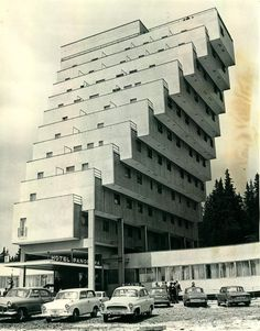 Constructivist architecture, Slovakia, Strbske Pleso, Panorama Hotel Ski Resort That looks so scary i wouldnt wanna be on the top floor . Architecture Constructiviste, Constructivism Architecture, Architecture Antique, Futuristic Architecture, Amazing Architecture, Brutalist Buildings, Amazing Buildings, Unusual Buildings, Built Environment