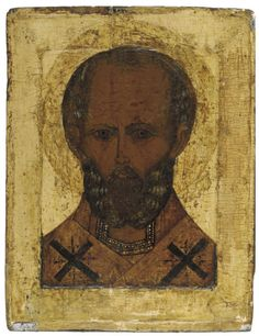 ST. NICHOLAS -  RUSSIAN, 16TH CENTURY -  The bust of the saint portrayed traditionally, his elderly face rendered with deep colours, his hair defined by delicate white brushstrokes, wearing the Bishop's omophorion 12½ x 9¾ in. (31.75 x 24.75 cm)