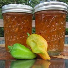 "Habanero Pepper Jelly | ""If chopping habaneros by hand, rubber gloves are recommended since the habanero peppers will burn the skin."""