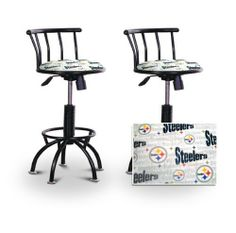 """2 24""""-29"""" Pittsburgh Steelers Seat Black Adjustable Specialty / Custom Barstools Set by The Furniture Cove. $229.88. Black Metal Finish. Back Rest and Foot Rest. Pittsburgh Steelers White NFL Football Themed Fabric Print Seat. 24"""" to 29"""" Adjustable Seat Height. Swivel Seat. These have a fitting appearance for a wide variety of places. They look and feel great, feature a Pittsburgh Steelers NFL Football themed fabric seat, and are impressively versatile. The fr..."""