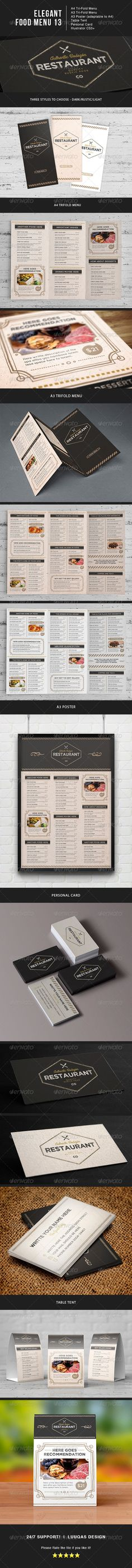Bi Fold Food Menu - 3 Food menu, Kind of and Posters - sample cafe menu template