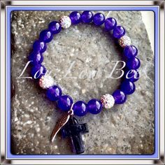 'My Guardian Angel' Gorgeous amethyst semi-precious stones & AB crystal shamballa bead bracelet with a glass cross & silver angel wing charm. Earrings and matching necklaces also available