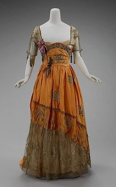 Harvest worthy hues combine in this lovely, partially sheer Edwardian dress c. 1910-1914. by Mariruth