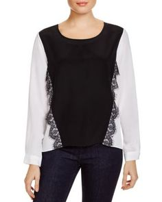Dora Landa Lace Trim Color Block Top - Bloomingdale's Exclusive | Bloomingdale's
