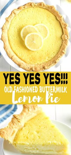 I always wondered what Old Fashioned Buttermilk Pie would taste like. It's creamy, I loved that. The lemon flavor was perfect, it was like what a lemon sherbet ice cream would taste like. Not in your face lemon flavor, but very nice and enjoyable Lemon Desserts, Lemon Recipes, Tart Recipes, Brownie Recipes, Fun Desserts, Baking Recipes, Cookie Recipes, Delicious Desserts, Dessert Recipes