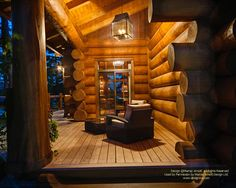 Porch at night of waterfront log home in Ontario I posted yesterday.  #loghomes #loghomedesign #handcraftedloghomes #porch  For more photos of this or more of my designs, please check out my website, www.designma.com, my Design Page, www.facebook.com/loghomedesign — in Haliburton, Ontario.