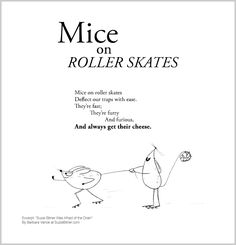 """Cute children's poem about mice. Contains alliteration. Great for classroom reading lessons for kindergarten, and grade, common core, and for ESL lessons. Excerpt from the poetry collection, """"Suzie Bitner Was Afraid of the Drain"""" by Barbara Vance."""