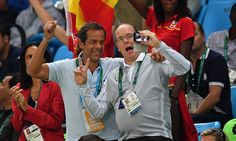 Prince Albert of Monaco, a member of the International Olympics Committee, has been a regular fixture at various events.  The royal, who used to compete in bobsleigh at the Winter Olympics, watched the men's basketball match between Spain and Brazil.  Happy snapper Albert didn't miss the opportunity to take a few selfies during the game.