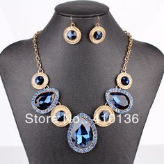 PN12539 Fashion Crystal Jewelry Sets Navy Blue Crystal Gold Plated  New Design Free Shipping US $8.99
