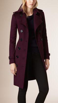 Sandringham Fit Cashmere Trench Coat Plum | Burberry