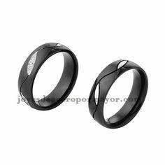 anillo de negro estilo simple en acero inoxidable para amantes -SSRGG971725