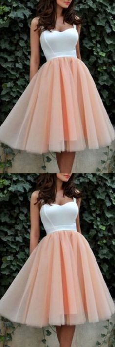 WHITE PALE PINK SHORT PROM GOWNS HOMECOMING DRESSES PARTY DRESS
