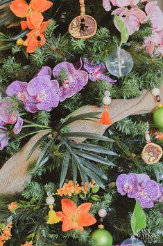 Tropical Bohemian Christmas Tree - Casa Watkins Living Tropical Christmas Trees, Bohemian Christmas, Christmas Decorations, House Styles, Plants, Gifts, Holidays, Presents, Holidays Events