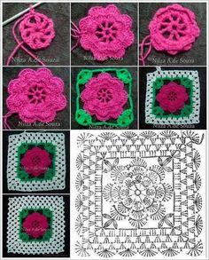 The Ultimate Granny Square Diagrams Collection ⋆ Crochet Ki Crochet Potholder Patterns, Crochet Motifs, Crochet Blocks, Granny Square Crochet Pattern, Crochet Flower Patterns, Crochet Diagram, Crochet Squares, Crochet Flowers, Crochet Stitches