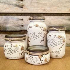 Mason Jar Desk Set Mason Jar Bathroom Set by AmericanaGloriana
