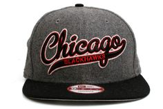 NEW ERA Chicago Blackhawks Scripter 2 9Fifty Snapback    Grey / Black / Red / White    This 9FIFTY cap features an embroidered (raised) Chicago Blackhawks script team namesake at front, a stitched New Era flag at wearer's left side, and a stitched team logo at wearer's right side. A snapback closure for an adjustable fit. Interior includes branded taping and a moisture absorbing sweatband.  New Era flag may vary in color with the image featured on site.    100% Wool.