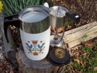 Price $74.99 - Welcome To My Seller Store Created by Paula Dean  Woodyswag Recycle 4 U  We go green Do you Vintage Percolator Corning Coffee Pot Electric  Do you love Country Shabby Primitive Kitchens  Estate Sale find.Beautiful hard to find vintage Corning Percolator or Coffee Pot with lots of detail. Country, co...
