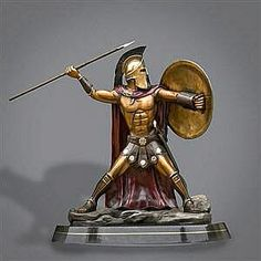 """Bronze Spartan Warrior King Leonidas """"Prepare For Glory"""" Sculpture by Barry Stein from the movie Greek Warrior, Warrior King, Aztec Warrior, Metal Sculpture Artists, Bronze Sculpture, Statues, Spartan Warrior, Ancient Greece, Character Design"""