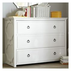 PB Teen Elsie Dresser, Simply White at Pottery Barn Teen - Armoires - Teen Bedroom Furniture ($899) found on Polyvore featuring home, furniture, storage & shelves, dressers, pbteen furniture, white bedroom dresser, wood furniture, wooden furniture and white wooden furniture