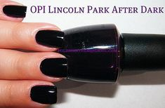 OPI Lincoln Park After Dark...this color is amazing on....its not black, its a deep deep grape color, very beautiful on nails and pedicures...the name is soooo romantic too