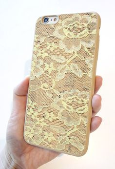 """Beautiful Unique Cell phone Mobile Case For Apple Iphone 6 Plus 5.5"""" Gold Yellow lace Floral Designer Print Wood Cork TPU full protection cover handmade by Yunikuna"""