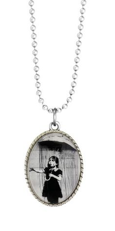 Product Features: - Beautiful 70cm ball chain necklace - Stunning Banksy girl with umbrella print. www.fabuleuxvous.com