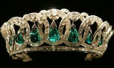 "The Grand Duchess Vladimir Tiara, as the name indicates, for Maria Pavlovna (""the elder""), wife of Grand Duke Vladimir Alexandrovitch & aunt of Tsar Nicholas II. Grand Duchess Vladimir was fond of everything extravagant & this tiara is a brilliant example of just that. The tiara consisting of 15 intertwined diamond circles with diamonds on top and pendant pearls was made in 1874, by the Russian court jeweler, Bolin"