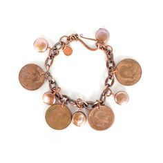 Copper Coin Pearl Wrist Chain  by Cheryl Dufault