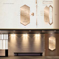 LOUIS KIENNE HOTEL – WAYFINDING SYSTEM – Kaze Lim Hotel Signage, Armani Hotel, Wayfinding Signs, 3d Type, Signage Design, Identity, Image, Personal Identity