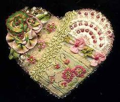 Wool Felt Crazy Quilt Heart Pin A - SORRY, THIS IS SOLD