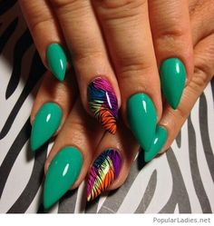Amazing green gel nails with colorful detail