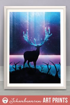 Reindeer Art Print Astronomy Painting Northern Lights Art Deer Silhouette Magical Landscape comet aurora borealis galaxy artwork milky way dark forest doe illustration enchanted wall art glowing art
