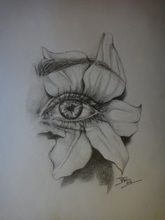 My eye by jenna marie rosset eye pencil sketch, flower pencil drawings, eye drawings Dark Art Drawings, Pencil Art Drawings, Art Drawings Sketches, Eye Drawings, Eye Pencil Drawing, Shading Drawing, Realistic Eye Drawing, Drawing Flowers, Amazing Drawings