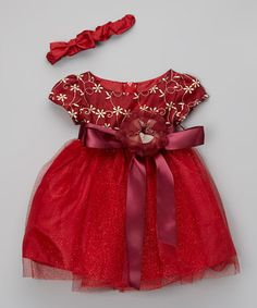Another great find on #zulily! Red Lace Overlay Dress & Headband - Infant #zulilyfinds