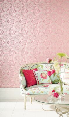luminous Ice pink wallpaper and airy spring floral settee