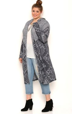 Deb Shops Plus Size Long Sleeve Marled Knit Aztec Print Duster Sweater with Hood $20.10