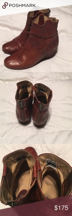 Frye Carson Wedge Bootie, Cognac Brown, authentic Excellent condition , very little signs of wear. All leather brownish tan color , frye's color is cognac. 100% authentic.  Pic shown with label inside boots Frye Shoes Ankle Boots & Booties