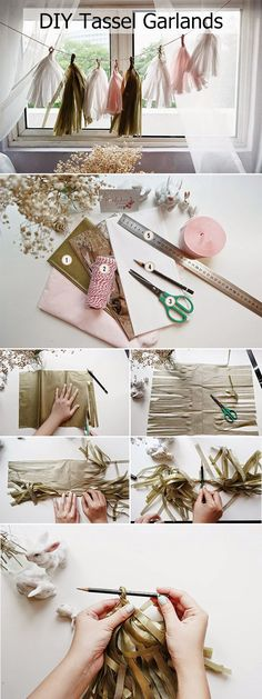 diy paper tassel garlands for wedding decoration ideas on budget