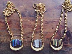 Crescent Quartz Crystal Pendant Necklace Moon by francisfrank, $40.00