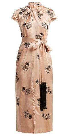 Finn floral-beaded silk-satin dress by Erdem White Sequin Dress, Silk Satin Dress, Satin Dresses, Elegant Dresses, Day Dresses, Vintage Dresses, Casual Dresses, Dresses Online, Classic Dresses