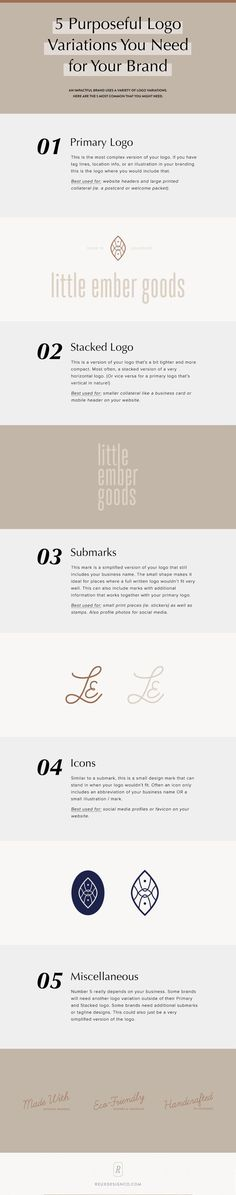 5 purposeful logo variations you need for your brand - here's a breakdown of all the types of logos and marks that you can use in your branding! Reux Design Co. Personal Branding, Branding Your Business, Creative Business, Business Names, Business Tips, Design Logo, Brand Identity Design, Branding Design, Web Design