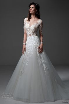 jillian 2017 bridal long sleeves v neck heavily embellished bodice lace embroidered gorgeous elegant a line wedding dress illusion back chapel train (michela) mv