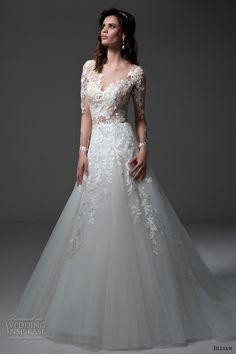 jillian 2017 bridal long sleeves v neck heavily embellished bodice lace embroidered gorgeous elegant a  line wedding dress illusion back chapel train (michela) mv