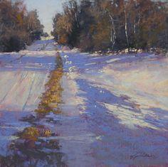 Roadside Walk by Barbara Jaenicke Pastel ~ 12 x 12 Scenery Paintings, Paintings I Love, Landscape Paintings, Pastel Paintings, Pastel Landscape, Winter Landscape, Abstract Landscape, Painting Snow, Winter Painting