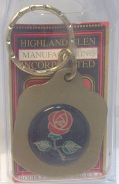 Brand New Pressed Metal Keychain ~ RED ROSE ~  Porte-Cle Neuf ~ ROSE ROUGE ~