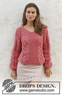 Spring Peach - Knitted sweater with V-neck and lace pattern. Sizes S - XXXL. The piece is worked in 2 strands DROPS Air. - Free pattern by DROPS Design Sweater Knitting Patterns, Lace Knitting, Knit Crochet, Drops Design, Jumpers For Women, Sweaters For Women, Handgestrickte Pullover, Hand Knitted Sweaters, Lace Patterns