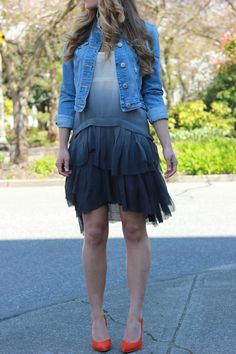 Denim jacket, red pointy pumps